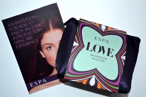 Our lovely gift from ESPA - a sample collection & a facial voucher!